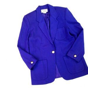 Vintage Wool Cobalt Gold Button Blazer